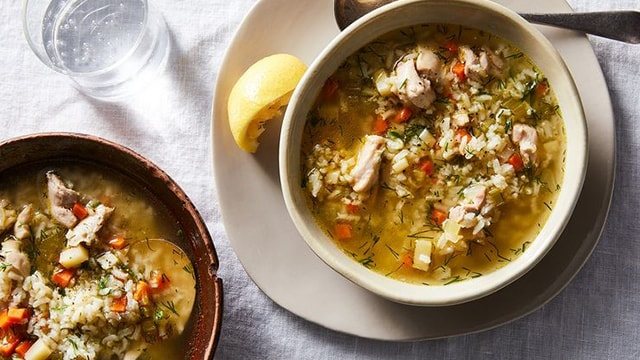 Easy, Lemony Chicken & Rice Soup with Dill Recipe