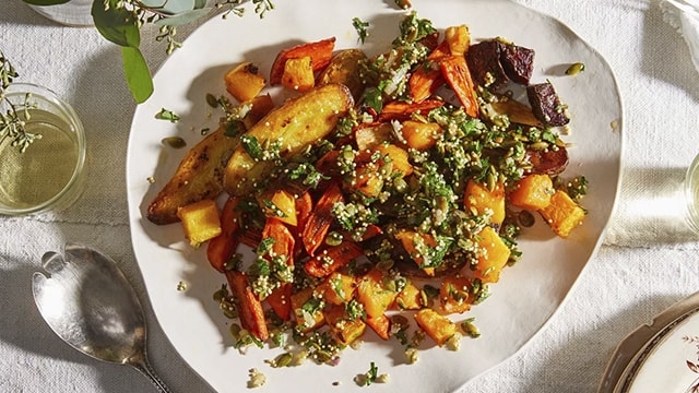 Roasted Vegetables with Bright & Crunchy Herbed Topping Recipe